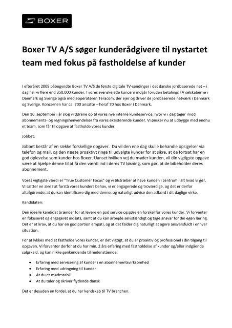 Boxer TV A/S søger kunderådgivere til nystartet team med fokus på ...
