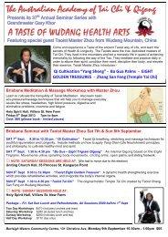 Taste of Wudang Gold Coast and Brisbane Seminar Brochure