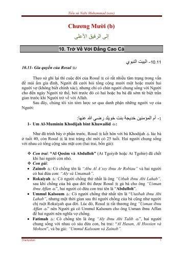 TIỂU SỬ NABI MUHAMMAD (SAW) - CHƯƠNG 10 (b) - Chân Lý Islam