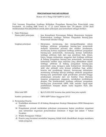 811/Peng/ULP/LKPP/6/2012 Unit Layanan Pengadaan Lembaga ...