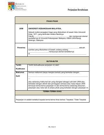 Perjanjian Kerahsiaan - Universiti Kebangsaan Malaysia