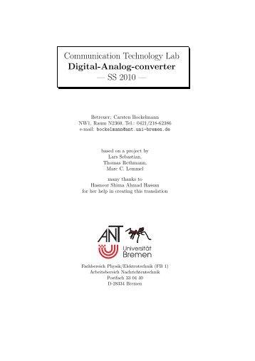 Communication Technology Lab Digital-Analog-converter - CiteSeerX