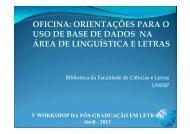 Treinamento Base de Dados: Workshop Letras 2013 - Faculdade de ...