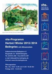 vhs-Programm Herbst / Winter 2013 / 2014 - vhs Beilngries