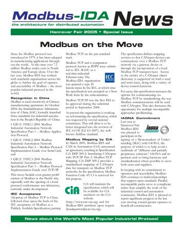 Modbus-IDA - The Modbus Organization