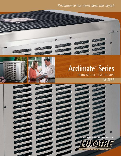 Luxaire Acclimate 8t Series 18 Seer Heat Pumps From Manual Guide