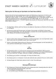 Satzung über die Nutzung der Sporthallen der Stadt Waren (Müritz)