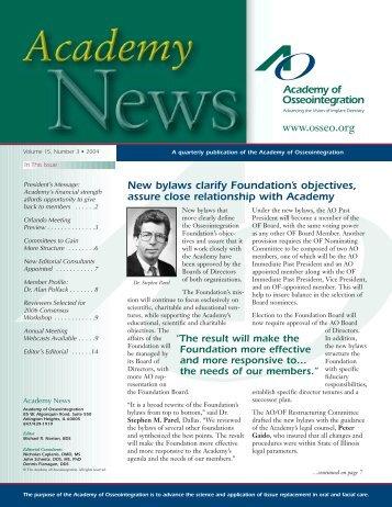 New bylaws clarify Foundation's objectives - Academy of ...