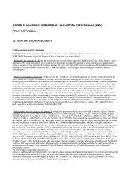 CORSO DI LAUREA IN MEDIAZIONE ... - Lettere e Filosofia