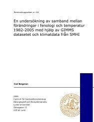 En undersökning av samband mellan förändringar i fenologi och ...