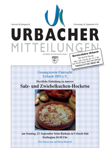 Salz- und Zwiebelkuchen-Hocketse -  Gemeinde Urbach