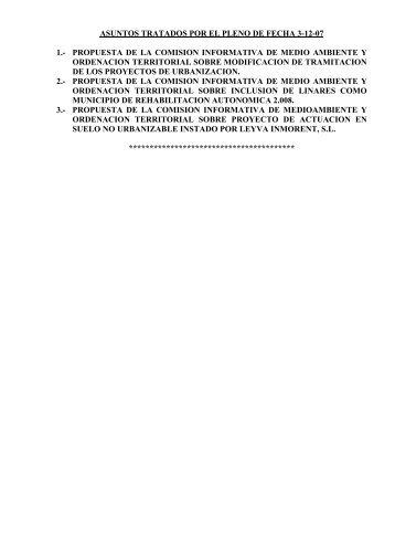 Pleno extraordinario del 3 de Diciembre de 2007 - Ayuntamiento de ...