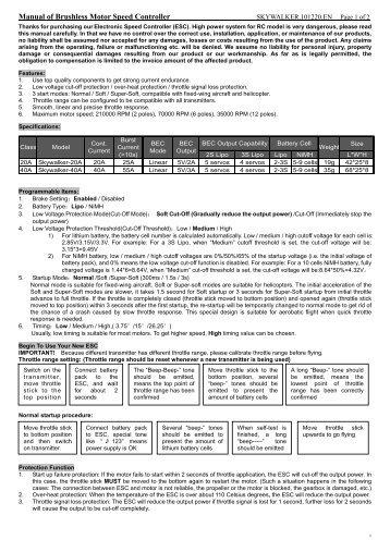 Manual of Brushless Motor Speed Controller - HiModel