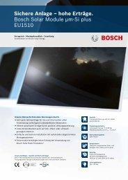 Sichere Anlage – hohe Erträge. Bosch Solar Module ... - Activity Solar