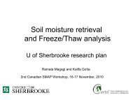 Soil moisture retrieval U of Sherbrooke research plan - SMAP - NASA