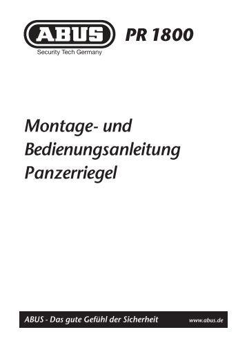 Montage- und Bedienungsanleitung Panzerriegel PR 1800 - Abus