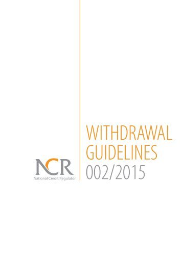 Withdrawal from debt review guidelines