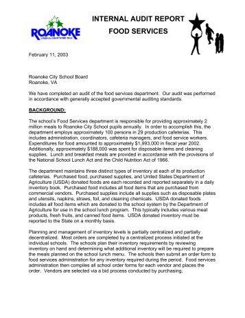 Internal Audit Report Food Services  Roanoke