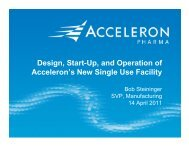 Design, Start-Up, and Operation of Acceleron's New Single Use ...
