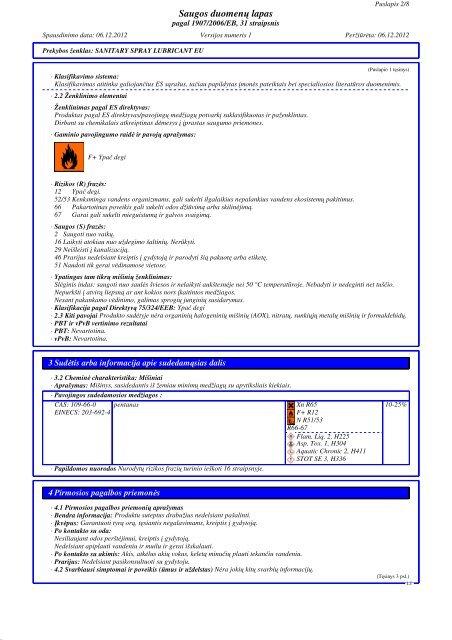 Saugos duomenų lapas - Zep Eesti OÜ