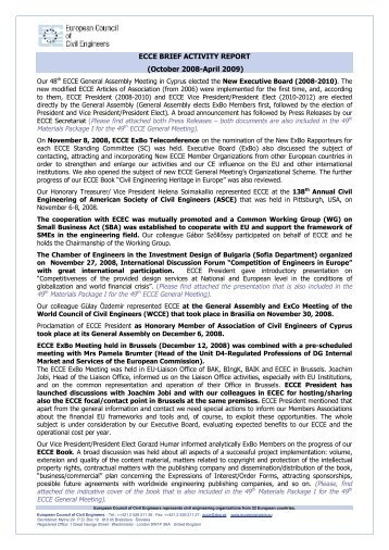 ECCE Activity Report - European Council of Civil Engineers