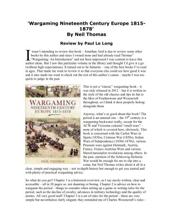 'Wargaming Nineteenth Century Europe' book - Lone Warrior Blog