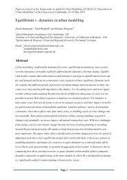 Equilibrium v. dynamics in urban modelling - UrbanSim