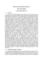 IDENTITÀ, EQUAZIONI E LOGICA Dario PALLADINO ... - Filosofia