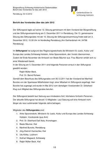 Jahresbericht 2012 - Gedenkstätten Schleswig Holstein