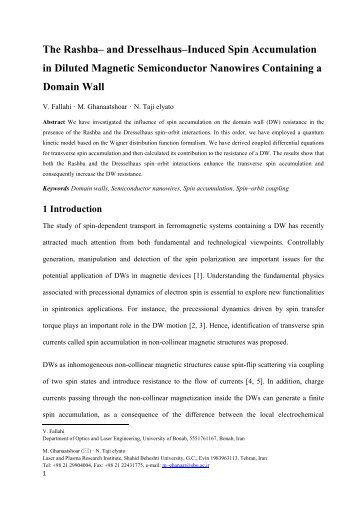 The Rashba– and Dresselhaus–Induced Spin ... - ICSM 2012
