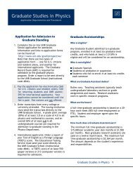Download Graduate Information Packet - Physics - University of ...