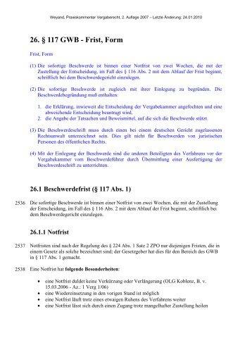 26. § 117 GWB - Frist, Form - Oeffentliche Auftraege