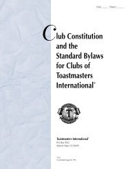 Club Constitution, the Bylaws - Talk of Des Moines Toastmasters