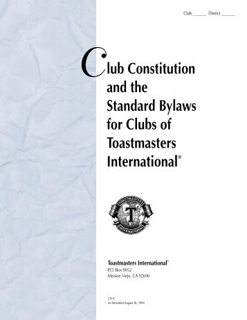 SAMPLE CONSTITUTION AND BYLAWS FOR 4-H CLUBS