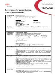 Leverandørbrugsanvisning / Sikkerhedsdatablad
