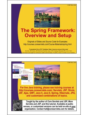 The Spring Framework - Custom Training Courses - Coreservlets.com