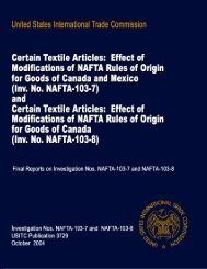 Certain Textile Articles: Effect of Modifications of NAFTA ... - USITC