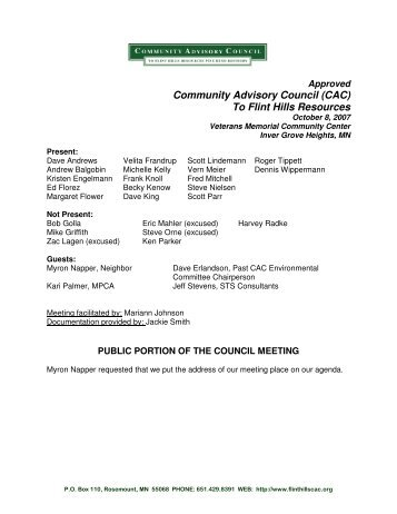 October 8, 2007 Approved Minutes - Community Advisory Council to ...