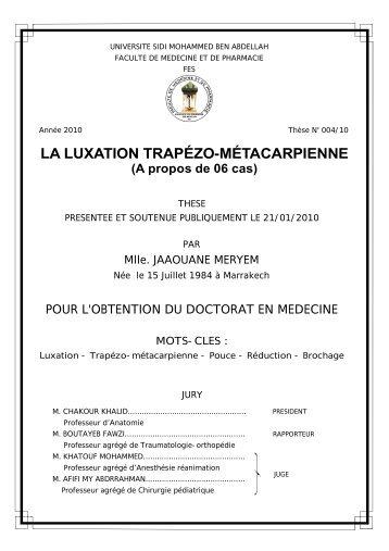 LA LUXATION TRAPÉZO-MÉTACARPIENNE - Toubkal