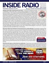 news INSIDE >> Wednesday, September 29, 2010