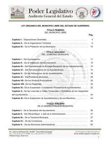 1 ´ LEY ORGANICA DEL MUNICIPIO LIBRE DEL ESTADO DE ...