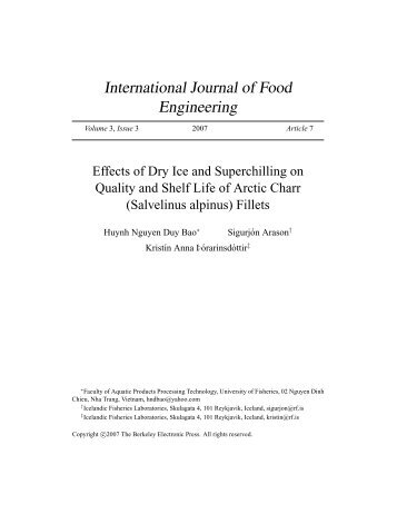 Effects of Dry Ice and Superchilling on Quality and Shelf Life of Arctic ...
