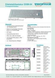 Edelstahltastatur EKM-04 Frontpanel-Einbau