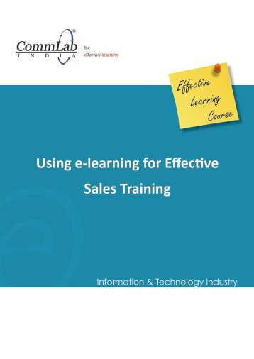 OeUsing e-learning for Effective Sales Training - CommLab India