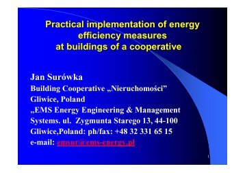 Practical implementation of energy efficiency measures at buildings