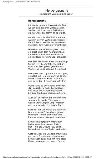 Herbergsuche Christkindls Gedichte Druckversion