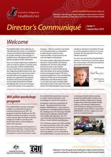 Director's Communiqué - Australian Indigenous HealthInfoNet