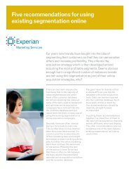 Five recommendations for using existing segmentation ... - Experian