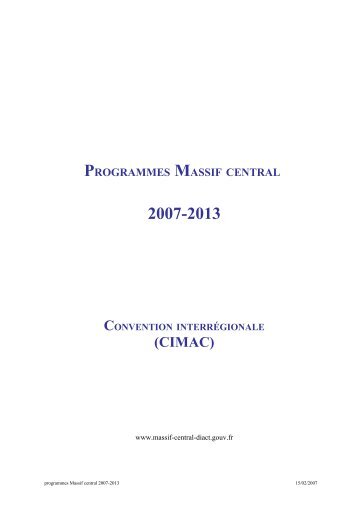 programmes massif central - Portail Territoire - Région Rhône-Alpes