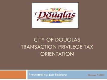 sales tax - City of Douglas Arizona